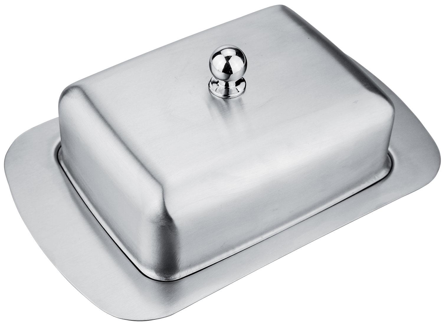 Масленка Rainstahl, 18,8х12,2х7,7 см. 8410RS\BD8410RS\BDМасленка из нержавеющей стали со стальной крышкой. Размер 18,8х12,2х7,7 см.