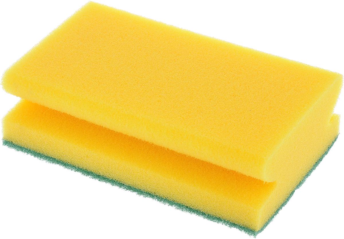 "Губка для уборки помещений ""Хозяюшка Мила"", цвет: желтый, зеленый, 14,5 х 9 х 4,5 см"