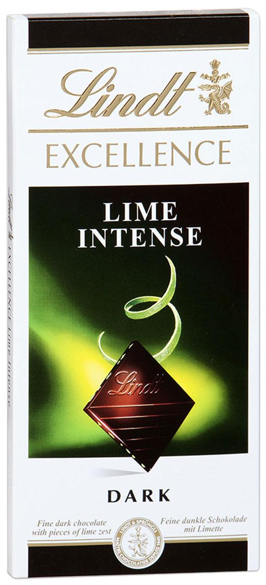 Lindt Excellence темный шоколад с лаймом, 100 г 3046920017541