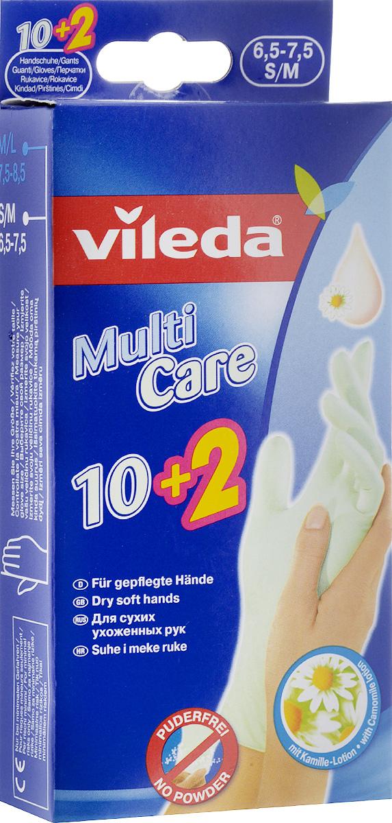 Перчатки одноразовые Vileda, 12 шт. Размер S/M321101121Одноразовые перчатки Vileda предназначены для любых видов работ в доме и в саду. Внутренний слой пропитан экстрактом ромашки для увлажнения рук. Сохраняют высокую чувствительность рук. Перчатки содержат натуральный латекс, который может вызвать аллергическую реакцию.