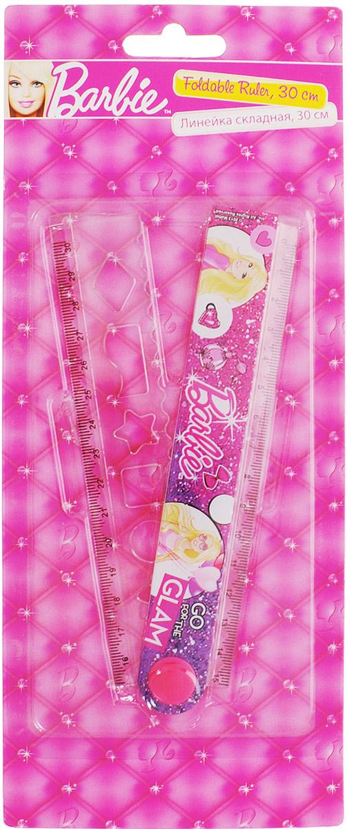 Barbie Линейка раскладная с трафаретом 30 смBRBB-US1-201-BL1Линейка с трафаретом Barbie станет прекрасным компаньоном в школьных буднях для вашей маленькой ученицы. Линейка изготовлена из качественных материалов, а ее складная конструкция очень удобна при хранении или переноске в пенале. Она также имеет дополнительный трафарет, с помощью которого ваш ребёнок может начертить различные фигуры. Не рекомендовано детям до 3-х лет.