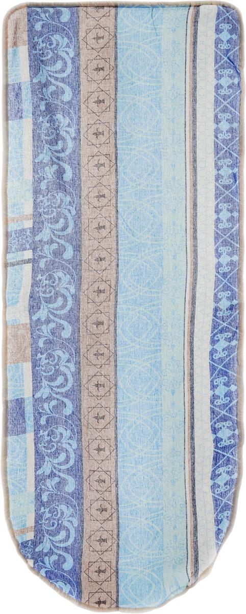 Чехол для гладильной доски Detalle, цвет: коричневый, голубой, 125 х 47 смGC220/05Чехол для гладильной доски Detalle, выполненный из хлопка с подкладкой из мягкого войлочного материала, предназначен для защиты или замены изношенного покрытия гладильной доски. Чехол снабжен стягивающим шнуром, при помощи которого вы легко отрегулируете оптимальное натяжение чехла и зафиксируете его на рабочей поверхности гладильной доски.Этот качественный чехол обеспечит вам легкое глажение.Размер чехла: 125 см x 47 см.Максимальный размер доски: 120 см х 42 см.Размер войлочного полотна: 130 см х 52 см.