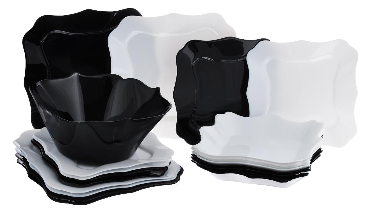 Набор столовой посуды Luminarc Authentic, 19 предметов09561\E6195Набор Luminarc Authentic состоит из 6 суповых тарелок, 6 обеденных тарелок, 6 десертных тарелок и глубокого салатника. Изделия выполнены из ударопрочного стекла, имеют классический монохромный дизайн и красивую квадратную форму с резными краями. Посуда отличается прочностью, гигиеничностью и долгим сроком службы, она устойчива к появлению царапин и резким перепадам температур. Такой набор прекрасно подойдет как для повседневного использования, так и для праздников или особенных случаев. Столовый набор Luminarc Authentic - это не только яркий и полезный подарок для родных и близких, это также великолепное дизайнерское решение для вашей кухни или столовой. Изделия можно мыть в посудомоечной машине и использовать в СВЧ-печи. Размер суповой тарелки: 22 х 22 см. Размер обеденной тарелки: 26 х 26 см. Размер десертной тарелки: 20,5 х 20,5 см. Диаметр салатника: 24 см. Высота стенки салатника: 8,5 см.