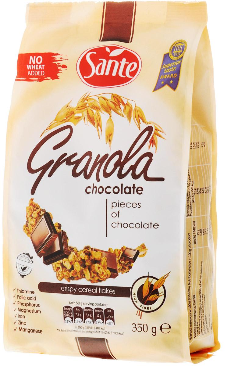 Sante Granola хрустящие злаковые хлопья с шоколадом, 350 г0120710Granola Sante - продукт, приготовленный из натуральных ингредиентов, без консервантов и искусственных красителей. Обычный сахар и соль заменяются тростниковым сахаром и гималайской солью. Granola содержит цельнозерновые злаки, сохраняя их ценные и полезные ингредиенты - витамины группы B, растительный белок и минералы - фосфор, медь и марганец. Granola является богатым источником клетчатки.Уважаемые клиенты! Обращаем ваше внимание, что полный перечень состава продукта представлен на дополнительном изображении.