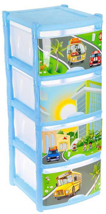 Little Angel Детский комод City Cars Tutti 4 ящика цвет светло-голубой