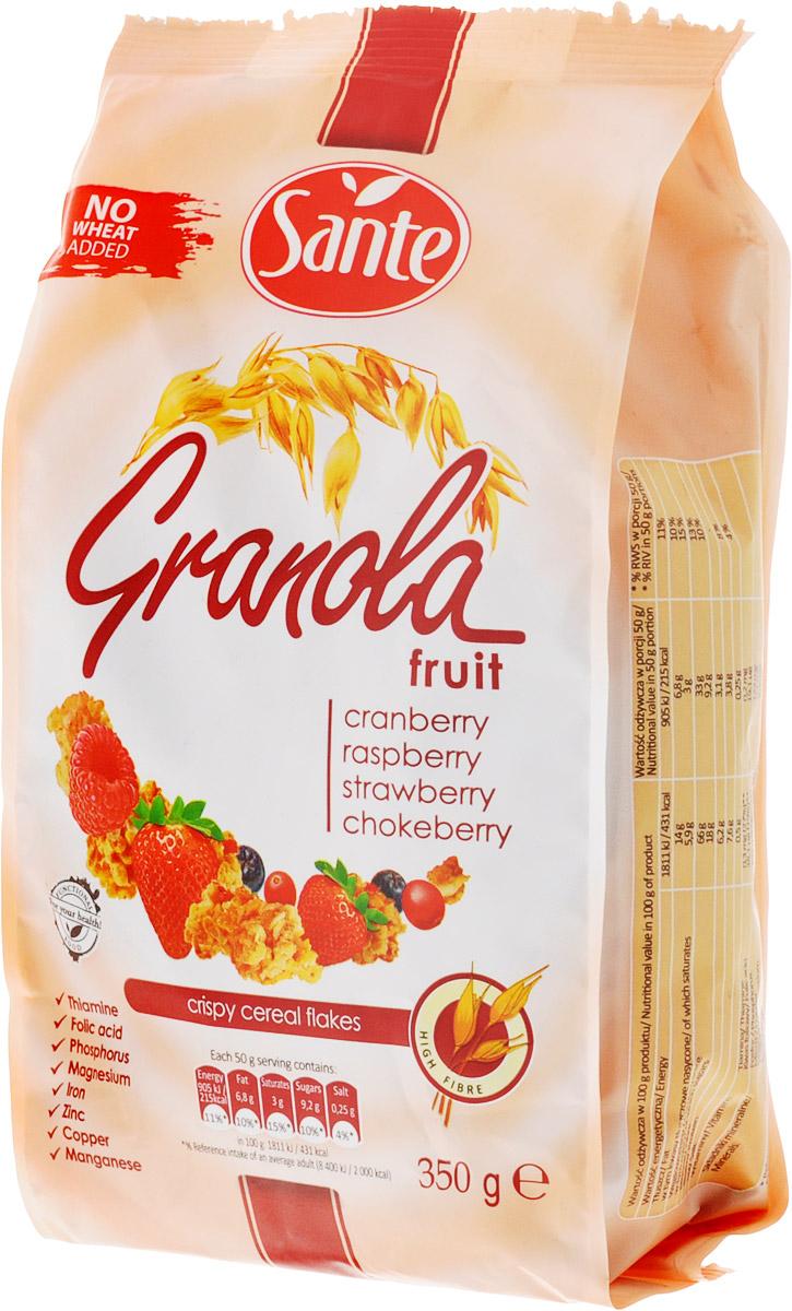 Sante Granola хрустящие злаковые хлопья склюквой, малиной, клубникой,350г0120710Granola Sante - продукт, приготовленный из натуральных ингредиентов, без искусственных красителей. Обычный сахар и соль заменяются тростниковым сахаром и гималайской солью. Granola содержит цельнозерновые злаки, сохраняя их ценные и полезные ингредиенты, - витамины группы B, растительный белок и минералы - фосфор, медь и марганец. Granola является богатым источником клетчатки.Уважаемые клиенты! Обращаем ваше внимание, что полный перечень состава продукта представлен на дополнительном изображении.