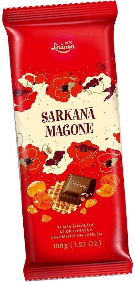 Laima Красный мак с карамелью и вафлями темный шоколад, 100 г0120710Темный шоколад с криспами карамели.