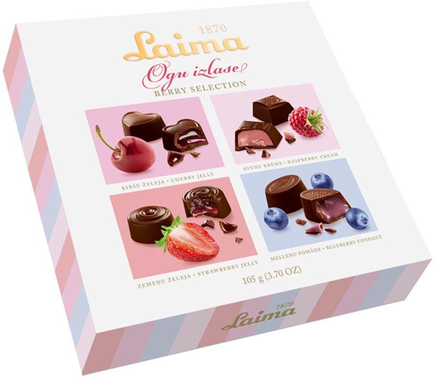 Laima С ягодными начинками Ассорти шоколадных конфет, 105 гP140110500Ассорти шоколадных конфет с 4 видами ягодных начинок - вишневой, малиновой, клубничной, черничной. Ягодное лукошко в одной коробке.