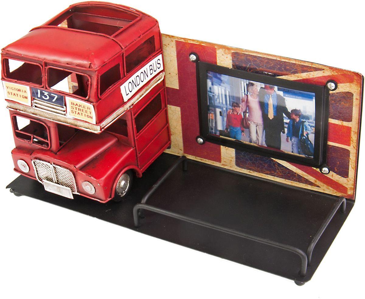 Фоторамка с подставкой для ручек Platinum Лондонский автобус, цвет: красный. 1410E-47841410E-4784