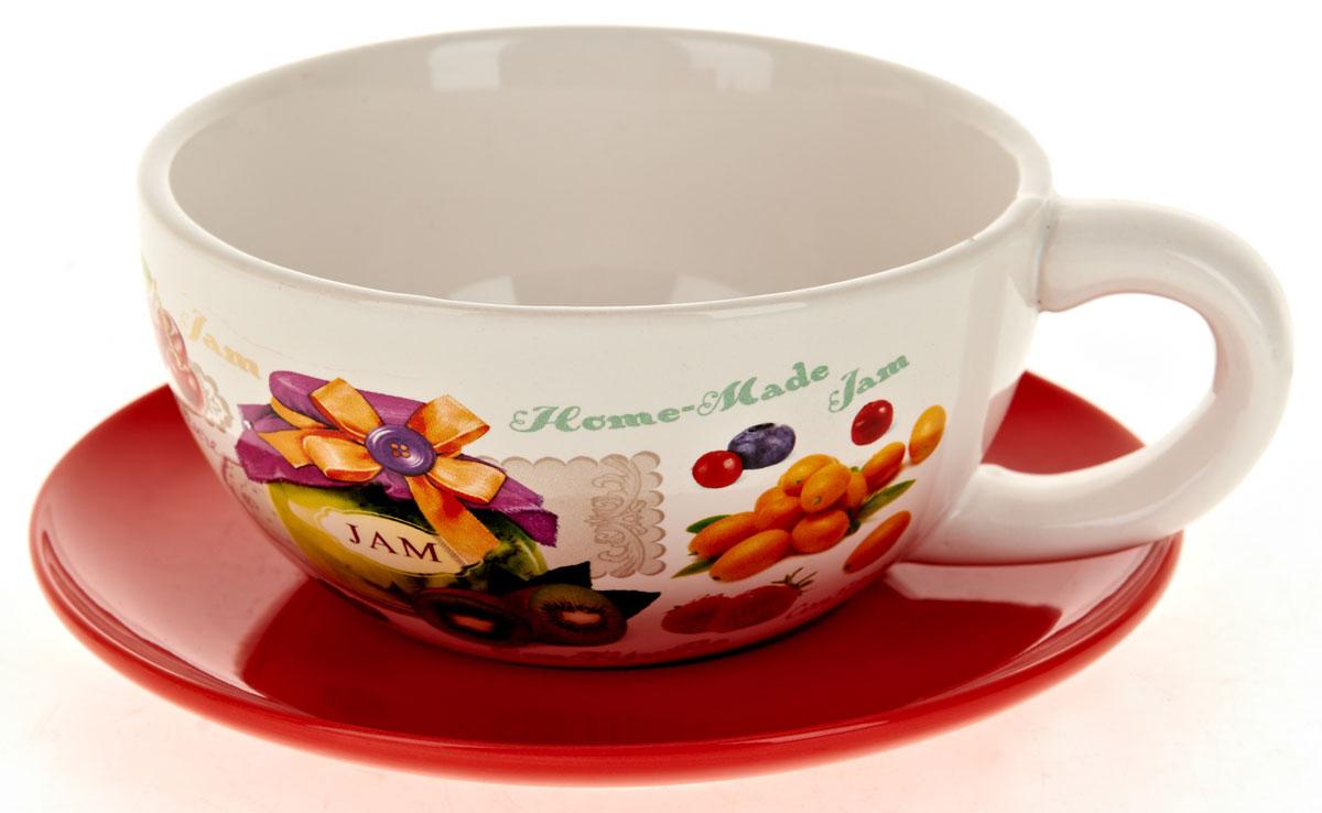 Кружка суповая ENS Group Джем, с блюдцем, 500 мл. L2430677L2430677Кружка с блюдцем ENS Group Birds изготовленная из высококачественной керамики с изящным рисунком, подойдет для красивой сервировки первых блюд. Объем кружки: 500 мл. Диаметр кружки (по верхнему краю): 13 см. Диаметр блюдца: 17 см. Можно мыть в посудомоечной машине.