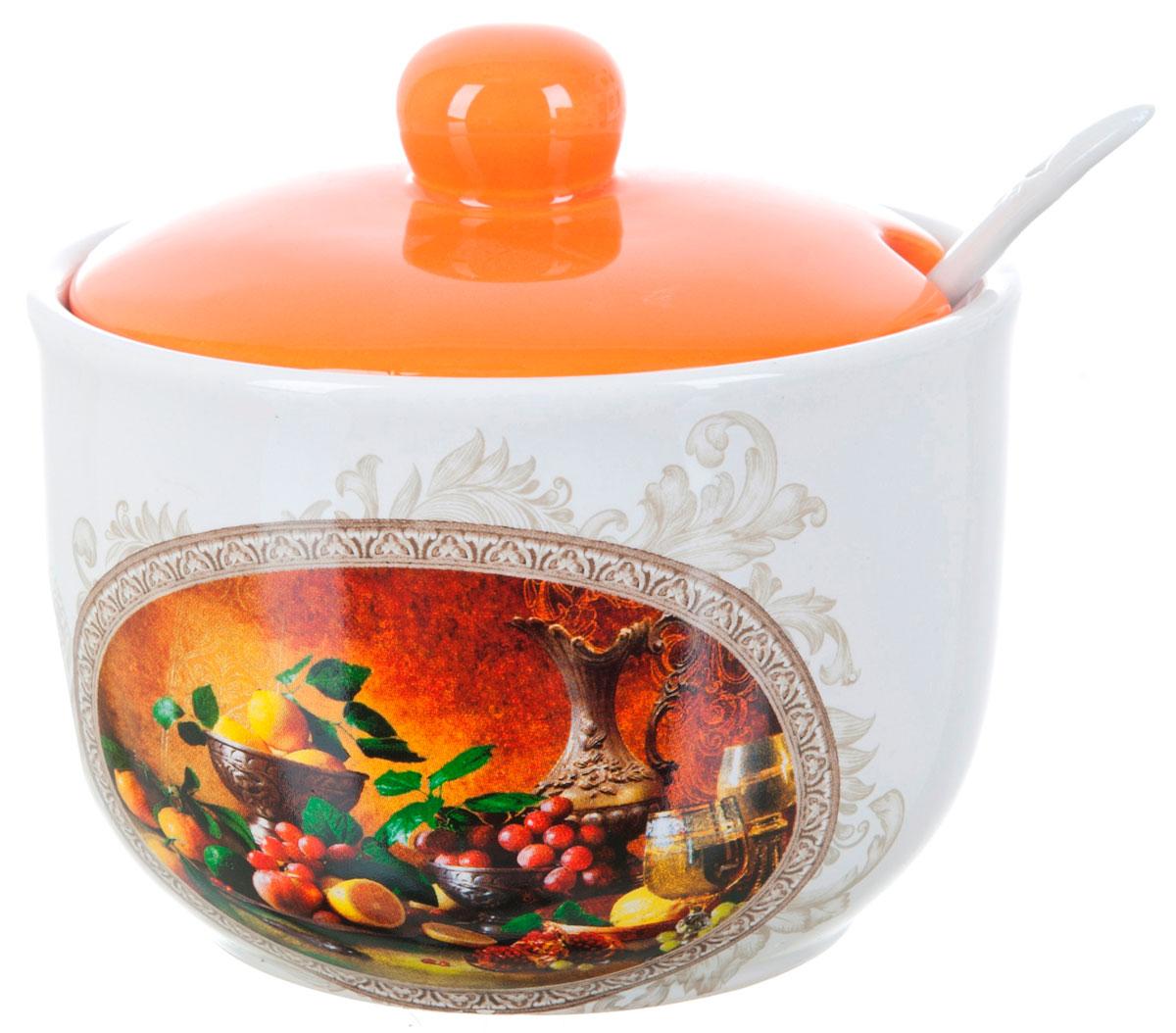 Сахарница ENS Group Севилья, с ложкой, 400 млL2520561Сахарница Севилья с крышкой и ложкой изготовлена из керамики и украшена ярким рисунком. Емкость универсальна, подойдет как для сахара, так и для специй или меда. Можно мыть в посудомоечной машине.