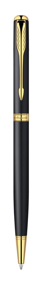 Parker Ручка шариковая Sonnet Slim Matte Black GT цвет чернил черный72523WDТонкая шариковая ручка Parker Sonnet Slim Matte Black GT с поворотным механизмом - это гарант вашего неповторимого стиля и элегантности. Ручка заправлена стержнем с черными чернилами. Корпус ручки выполнен из латуни с эффектом эпоксидной смолы, отделка - позолота. Оригинальная гравировка Parker. Толщина линии - средняя. Шариковая ручка упакована в фирменную коробку с логотипом компании Parker. В коробке предусмотрено дополнительное отделение, в котором расположен международный гарантийный талон. Оригинальная ручка Parker Sonnet Slim Matte Black GT подчеркнет стиль и элегантность ее владельца и станет превосходным подарком ценителю изящества и роскоши.Ручка - это не просто пишущий инструмент, это - часть имиджа, наглядно демонстрирующая статус, характер и образ жизни ее владельца.