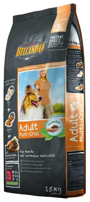Корм сухой Belcando Adult Multi-Croc, для взрослых собак крупных пород, 15 кг33015Сухой корм Belcando Adult Multi-Croc предназначен для собак с умеренным уровнем ежедневной активности, т.е. для обычных домашних собак, которые не подвергаются таким активным физическим нагрузкам, как, к примеру, сторожевые или ездовые собаки. Если вы хотите побаловать своего питомца чем-нибудь вкусненьким, просто смешайте корм с теплой водой, в соотношении 3/1, и вы получите вкуснейшие крокеты в аппетитной мясной подливке! Преимущества: - Особое сочетание крокетов с рисом, овощами, лапшой и различными видами мяса. - Эффект соуса: при смешивании с теплой водой образуется вкуснейший соус. - Сбалансированное соотношение белков, жиров и углеводов в общей энергетической ценности продукта, идеально для нормального уровня активности. - Лецитин, пивные дрожжи и линолевая кислота улучшают состояние шерсти и кожи. - Изготовлен без использования сои и молочных продуктов. Состав: рис (13%); кукуруза; пшеница; сухое мясо...