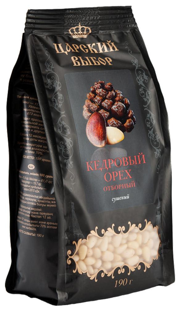 Царский выбор Кедровый орех отборный сушеный, 190 г4670018270281Кедровые орехи богаты витаминами К, Е, А, В1, В2, В3, В6 и В12. Особо ценные - жирные кислоты, которых в орехах максимальное количество. Растительный белок идеально сбалансирован, по составу близок к белкам ткани человека и усваивается организмом на 99%.
