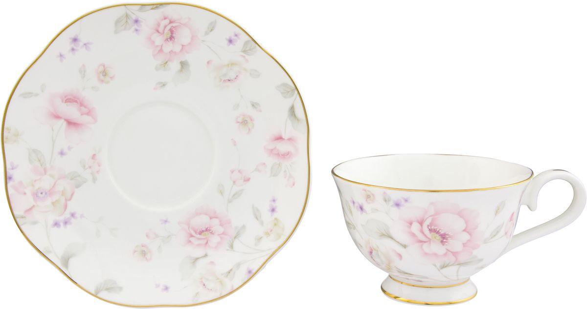 Чайная пара Elan Gallery Жизель, 2 предмета115610Шикарная чайная пара на 1 персону в нежных тонах станет памятным подарком. В комплекте 1 чашка на ножке объемом 230 мл, 1 блюдце.Изделие имеет подарочную упаковку из полипропилена с бантиком.