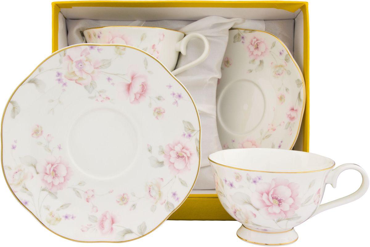 Чайный набор Elan Gallery Жизель, 4 предмета530059Чайный набор на 2 персоны украсит Ваше чаепитие. В комплекте 2 чашки, 2 блюдца. Изделие имеет подарочную упаковку, поэтому станет желанным подарком для Ваших близких! Объем чашки: 230 мл.