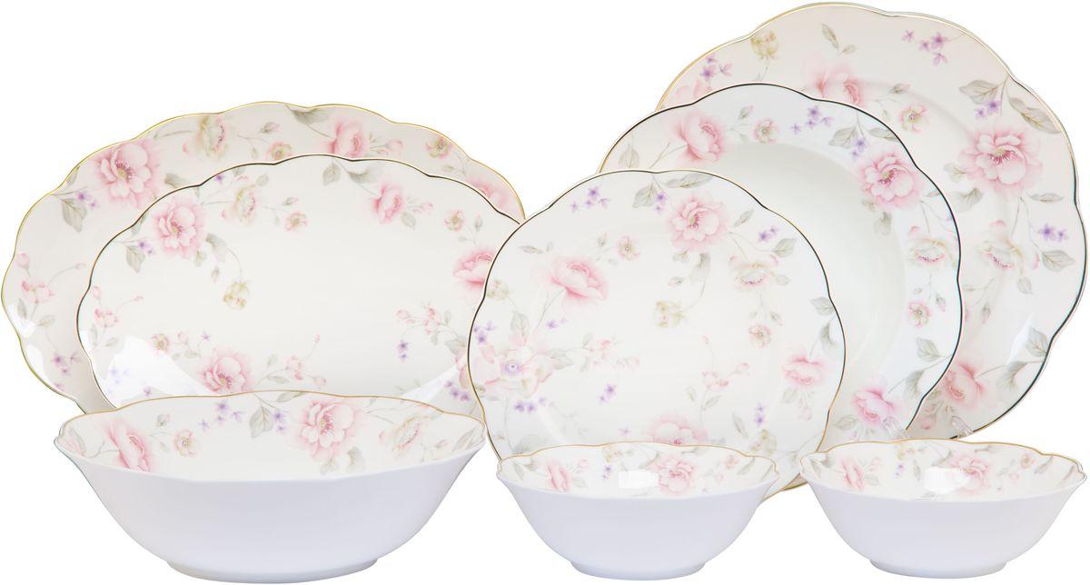 Столовый сервиз Elan Gallery Жизель, 23 предмета115610Прекрасный столовый сервиз из коллекции Амалия прекрасно впишется в любой классический интерьер, поэтому его часто выбирают в качестве подарка. В наборе: 6 обеденных тарелок, 6 суповых тарелок, 6 десертных тарелок, 2 салатника 420 мл, салатник 1,4 литра, 1 блюдо овальное 30,5 см, блюдо овальное 27 см