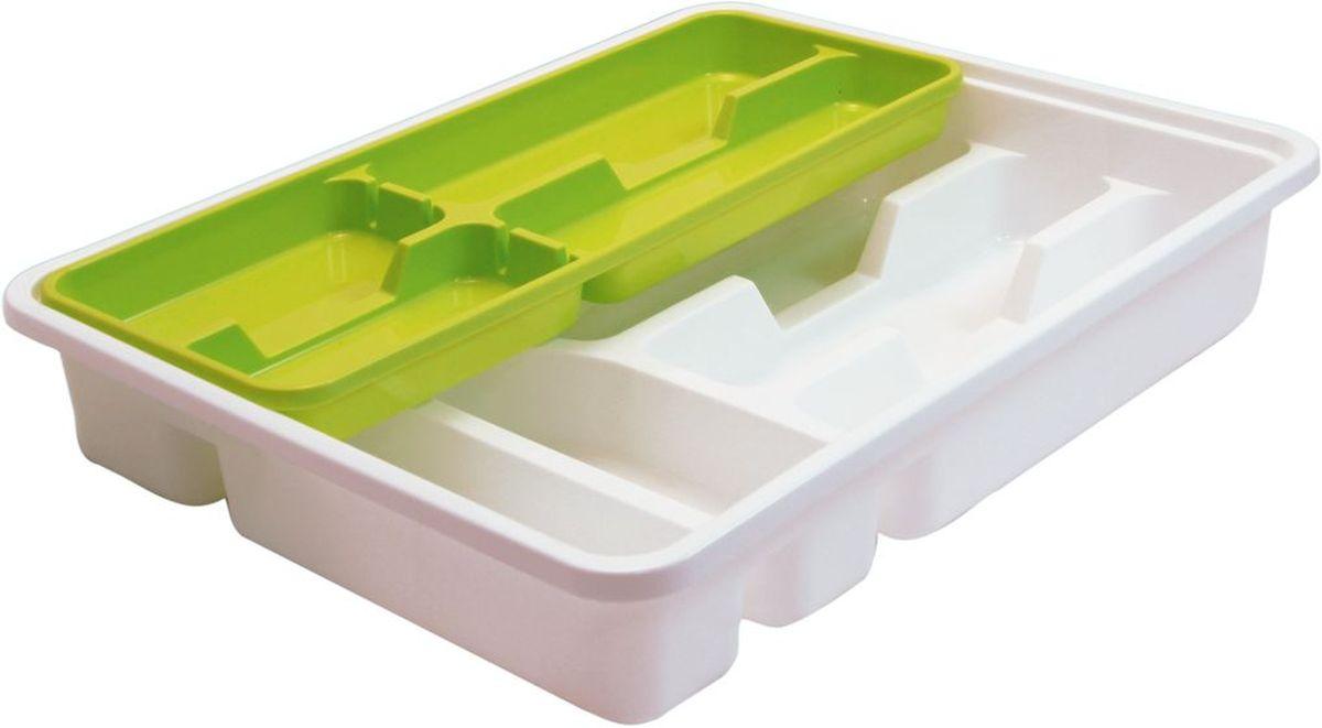 Лоток-вкладыш для столовых приборов Idea, двухуровневый, цвет: салатовыйМ 1146