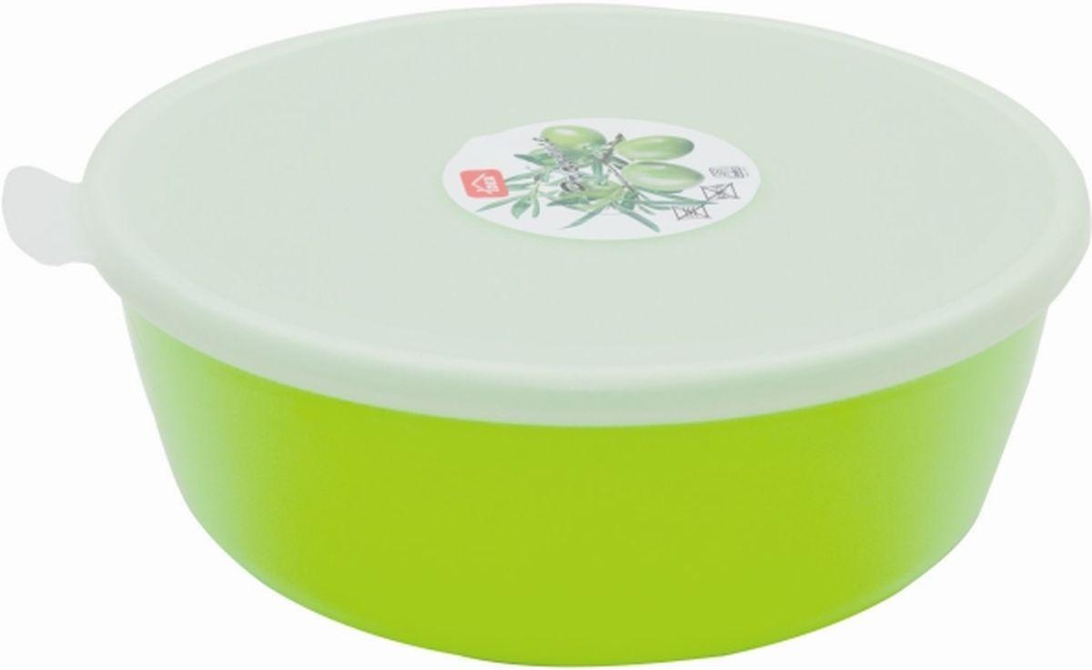 Миска Idea Прованс, с крышкой, цвет: салатовый, 2,5 лМ 1382