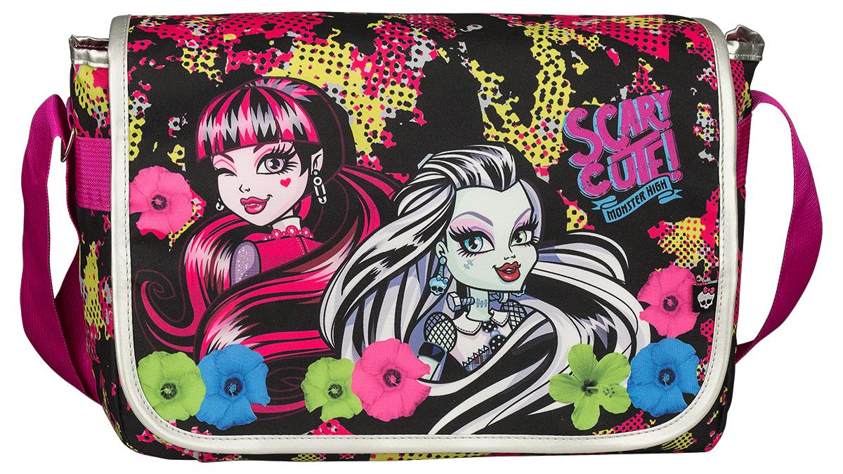Monster High Сумка школьная цвет черный розовыйMHDB-UT1-402Школьная сумка Monster High изготовлена из прочного материала черного цвета и оформлена ярким принтом в стиле учениц Школы Монстров. Сумка имеет одно вместительное отделение, которое закрывается на застежку-молнию и клапан на липучке. Внутри отделения находятся четыре кармашка под канцелярские принадлежности, открытый карман для мелочей и подвесной кармашек на молнии. Под клапаном с лицевой стороны расположен накладной карман на липучке. Задняя стенка сумки оснащена большим карманом на липучке. Сумка имеет одну широкую лямку, которая регулируется по длине. Такую сумку можно использовать для повседневных прогулок, учебы, отдыха или спорта.