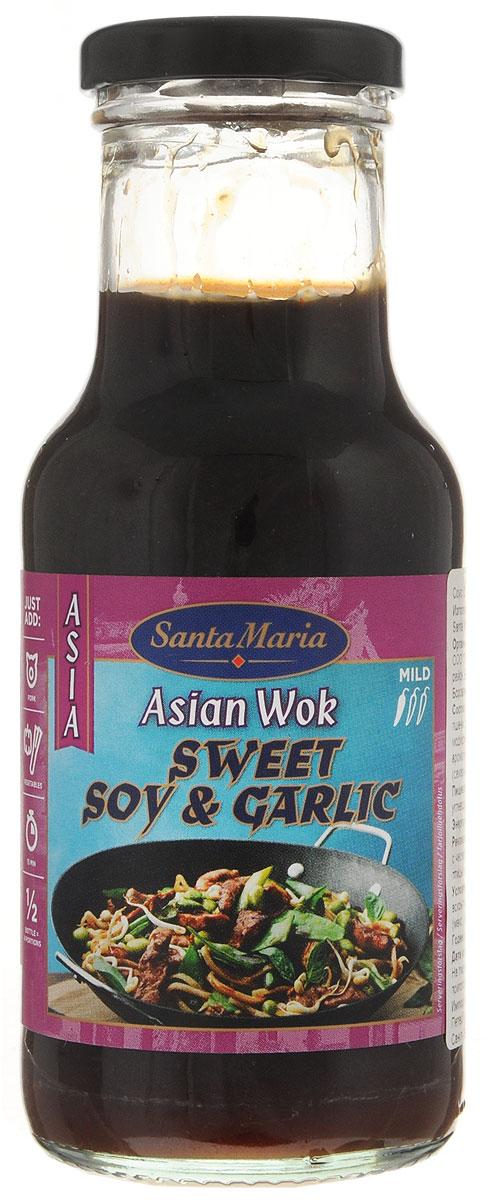 Santa Maria сладкий соевый соус с чесноком, 250 мл0120710Santa Maria Asian Wok Sweet Soy & Garlic - азиатский соус для горячих блюд с нежным чесночным вкусом. Обычно соус добавляется во время приготовления к блюдам из мяса, птицы, рыбы, креветок и овощей. Можно использовать как соус-глейз, например, смазать соусом рыбный стейк и приготовить на гриле. Также соус подходит для запекания, придавая блюду аппетитную корочку.Уважаемые клиенты! Обращаем ваше внимание, что полный перечень состава продукта представлен на дополнительном изображении.