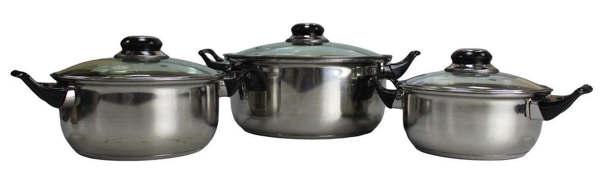 Набор кастрюль Vetta, 6 предметов. 822010822010Набор из 3 кастрюль объемами 1.5, 2.1 и 3.9 л. Кастрюли имеют многослойное капсульное дно с алюминиевым основанием, которое быстро и равномерно накапливает тепло и также равномерно передает его пище. Такое дно позволяет готовить блюда с минимальным количеством воды и жира, сохраняя при этом вкусовые и питательные свойства продуктов. Применение технологии многослойного дна создает эффект удержания тепла - пища готовится и после отключения плиты благодаря термоаккумулирующим свойствам посуды. Диаметры изделий соответствуют общепринятым размерам конфорок бытовых плит. Кастрюли оснащены удобными металлическими ручками. Крышки изготовлены из жаростойкого стекла, оснащены ручками, отверстиями для выпуска пара и металлическим ободом. Можно использовать на газовых, электрических, галогенных, стеклокерамических. Можно мыть в посудомоечной машине.