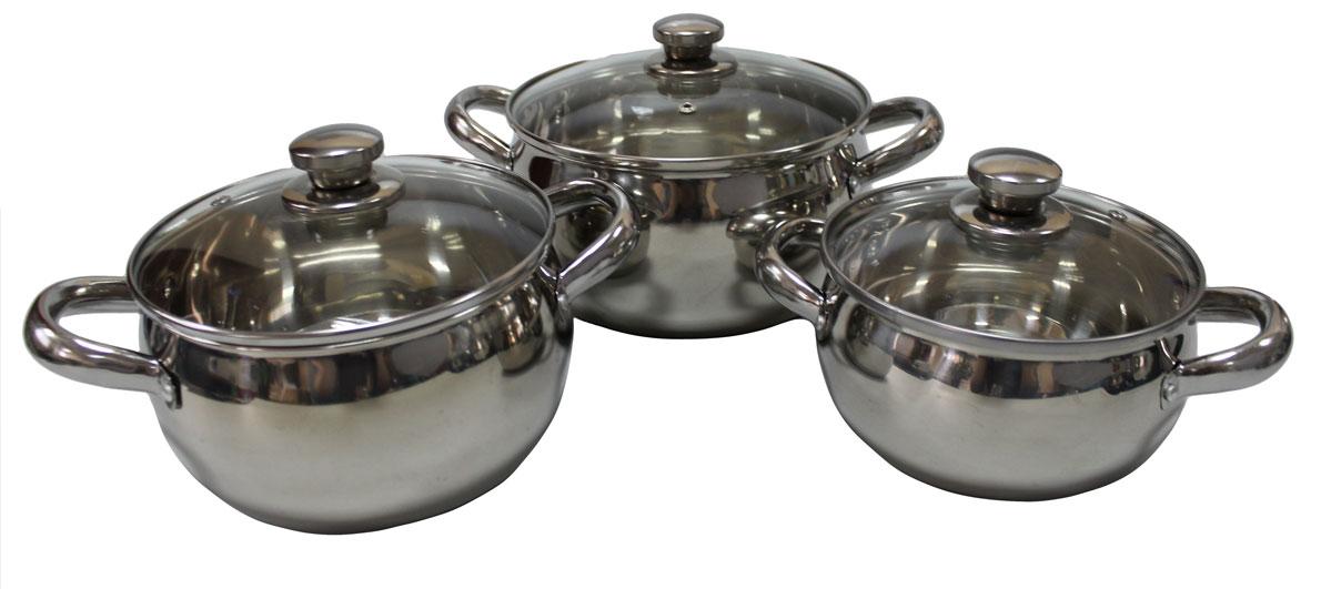 Набор кастрюль Vetta, 6 предметов. 822028CM000001328Набор из 3 кастрюль объемами 1.7, 2.4 и 2.9 л. Кастрюли имеют многослойное капсульное дно с алюминиевым основанием, которое быстро и равномерно накапливает тепло и также равномерно передает его пище. Такое дно позволяет готовить блюда с минимальным количеством воды и жира, сохраняя при этом вкусовые и питательные свойства продуктов. Применение технологии многослойного дна создает эффект удержания тепла - пища готовится и после отключения плиты благодаря термоаккумулирующим свойствам посуды. Диаметры изделий соответствуют общепринятым размерам конфорок бытовых плит. Кастрюли оснащены удобными металлическими ручками. Крышки изготовлены из жаростойкого стекла, оснащены ручками, отверстиями для выпуска пара и металлическим ободом. Можно использовать на газовых, электрических, галогенных, стеклокерамических. Можно мыть в посудомоечной машине.