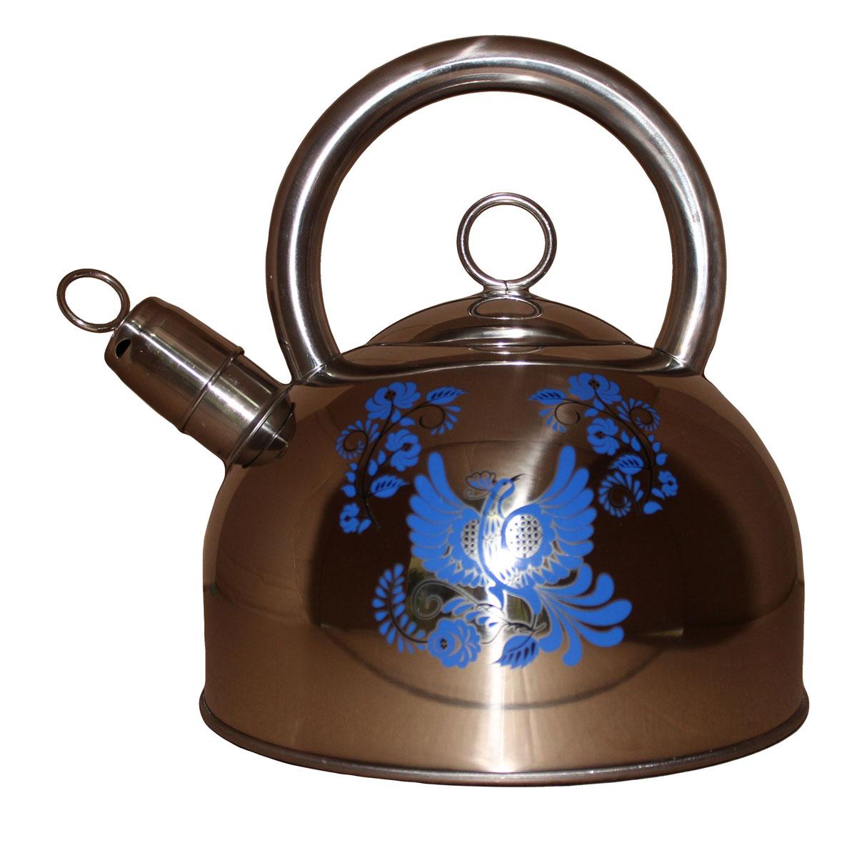Чайник Vetta Гжель, 2,5 л847051Чайник, гжель. Изготовлен из нержавеющей стали. Имеет свисток, который сообщит о закипании воды. Отлично подходит для индукционных варочных поверхностей.