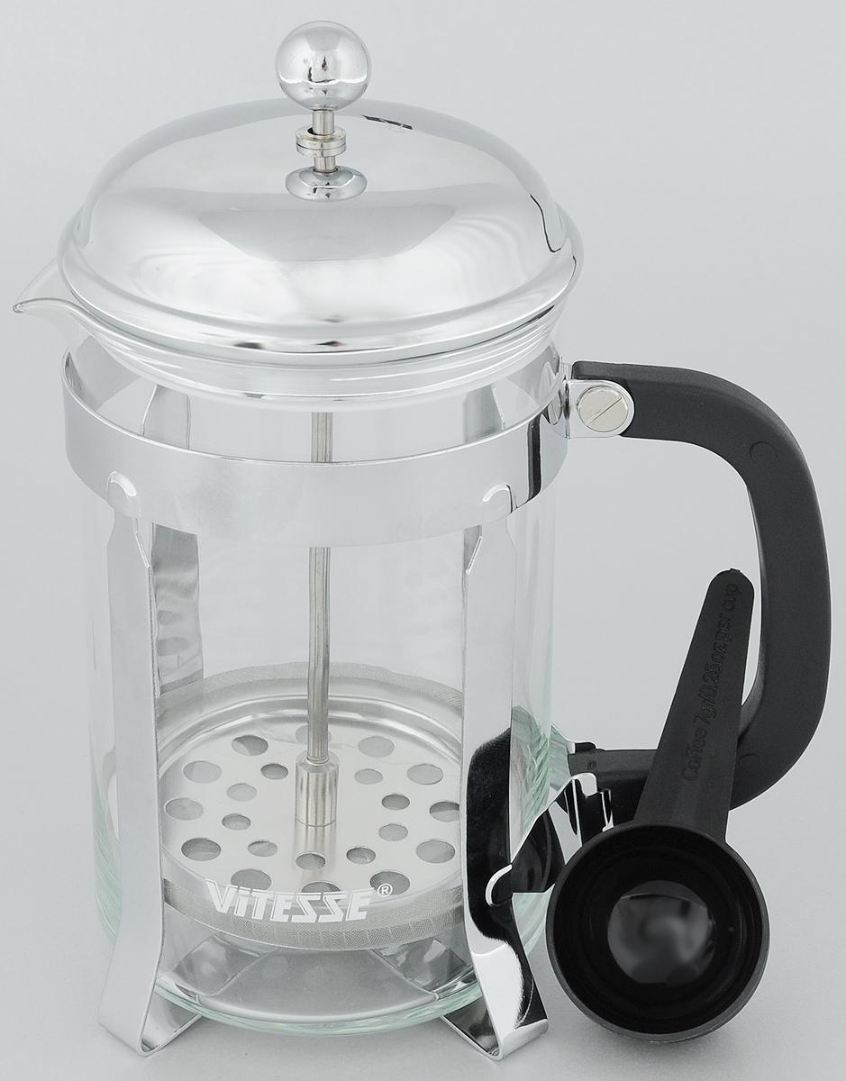 Френч-пресс Vitesse Brianna, с мерной ложкой, 800 млVS-1601 NEW!!!Френч-пресс Vitesse Brianna поможет вам в приготовлении ароматного кофе или чая. Колба френч-пресса выполнена из термостойкого стекла, что позволяет наблюдать процесс настаивания и заваривания напитка, а также обеспечивает гигиеничность посуды. Внешний корпус, выполненный из высококачественного нержавеющей стали, долговечен, прочен, а также устойчив к деформации и образованию царапин. Френч-пресс имеет удобную бакелитовую ручку. В комплект входит пластиковая мерная ложка. Уникальный дизайн полностью соответствует последним модным тенденциям в создании предметов бытовой техники. Можно использовать в посудомоечной машине. Высота френч-пресса (с учетом крышки): 20,5 см. Диаметр колбы (по верхнему краю): 9,5 см. Длина мерной ложки: 10 см.