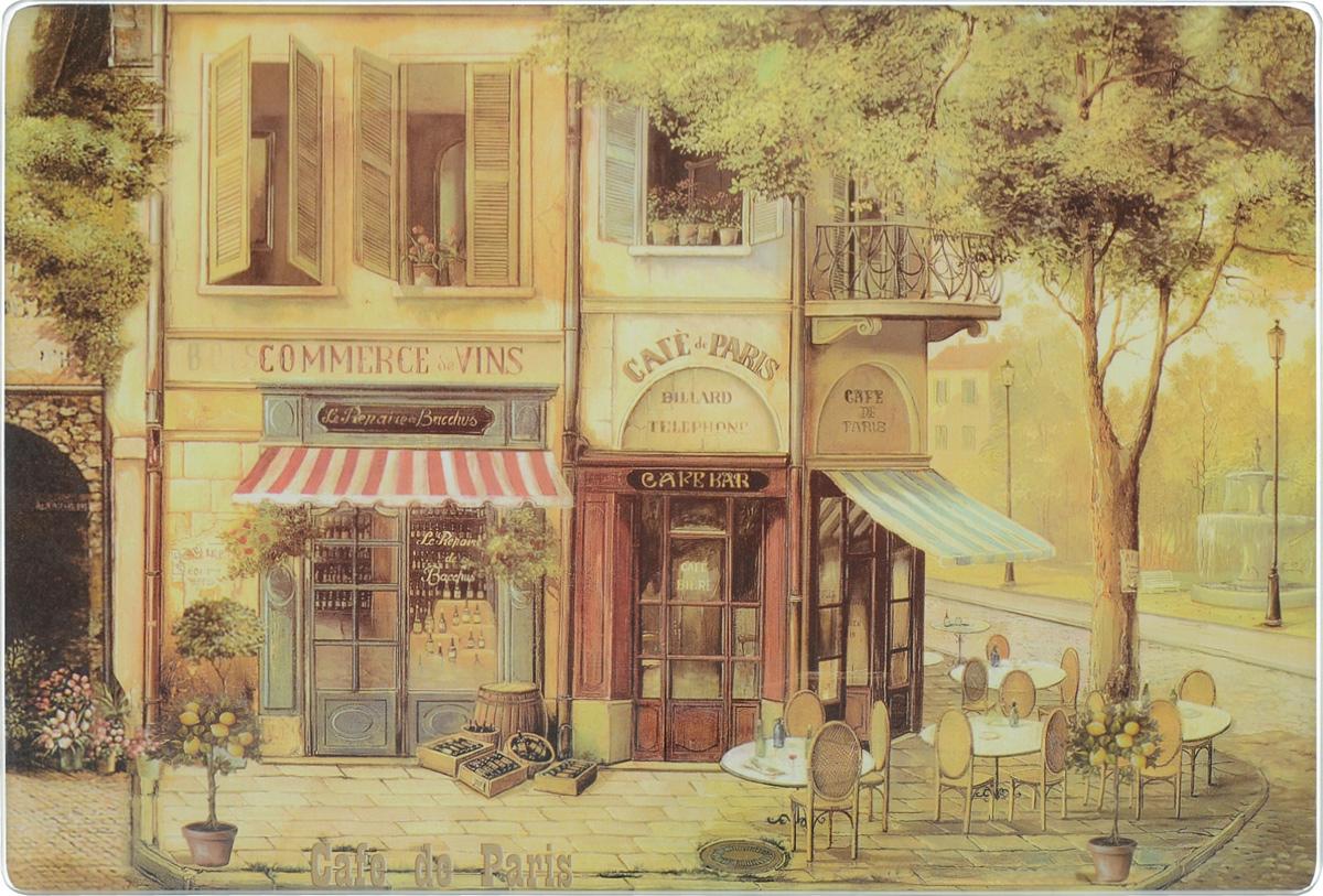 Доска разделочная GiftnHome Парижское кафе, стеклянная, 30 х 20 смCB-01-CafeРазделочная доска GiftnHome Парижское кафе выполнена из закаленного стекла. Изделие, украшенное красочным изображением, идеально впишется в интерьер современной кухни. Специальное покрытие вкладыша обеспечивает стойкость к влаге и высоким температурам. Изделие легко чистить от пятен и жира. Также доску можно применять как подставку под горячее, так как устойчива к высоким температурам (макс. +90°С). Доска оснащена резиновыми ножками, предотвращающими скольжение по поверхности стола. Разделочная доска GiftnHome Парижское кафе украсит ваш стол и сбережет его от воздействия высоких температур ваших кулинарных шедевров. Можно мыть в посудомоечной машине. Размер доски: 30 х 20 х 0,4 см.