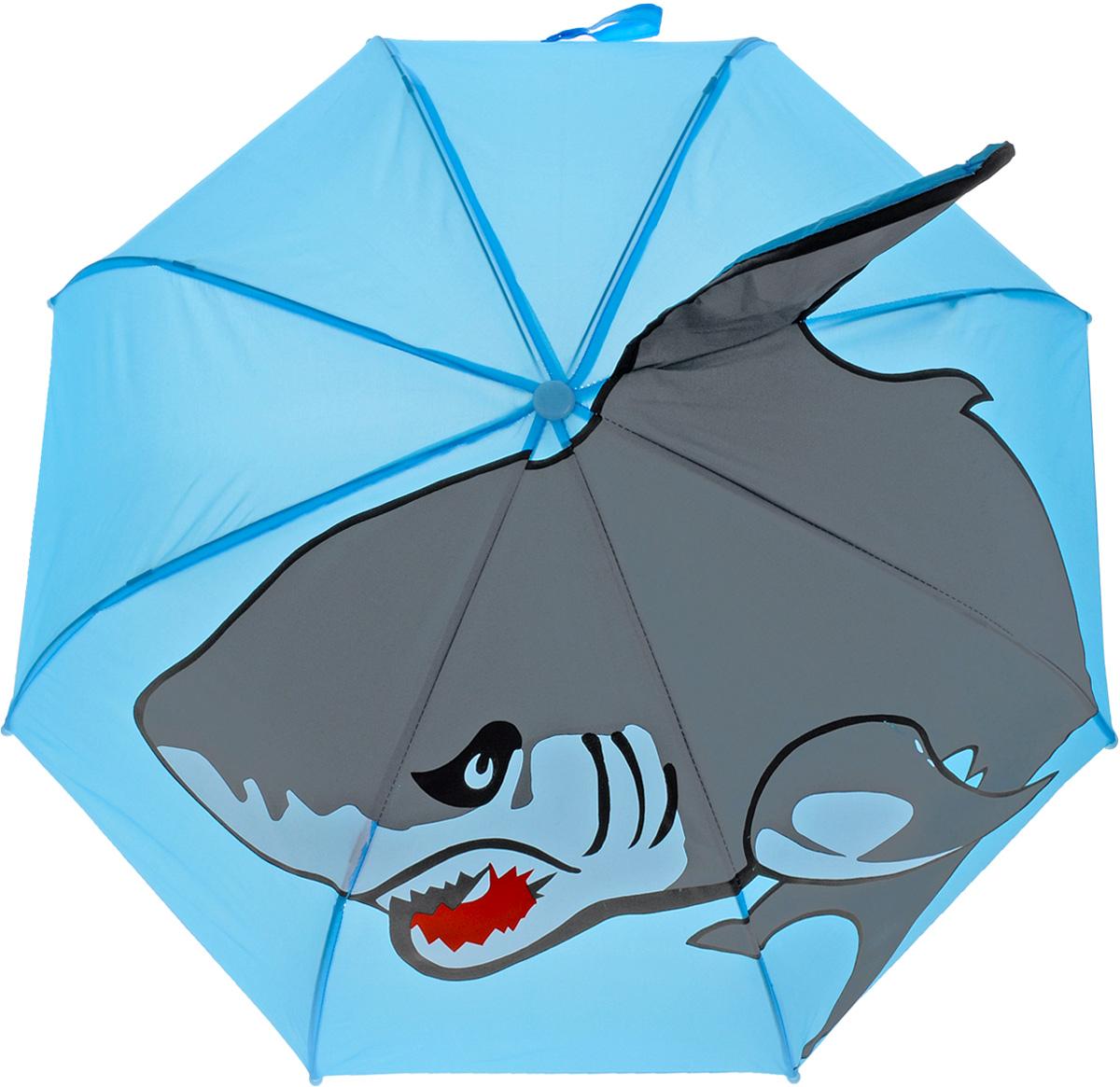 Mary Poppins Зонт-трость детский Акула53520Оригинальный и практичный детский зонт-трость Mary Poppins Акула будет отличным подарком для вашего ребенка. Зонт состоит из восьми спиц и стержня, выполненных из прочного, но легкого металла. Купол выполнен из качественной синтетической ткани с рисунком акулы и объемным плавником. Зонт дополнен удобной пластиковой ручкой в виде крючка. Изделие имеет механический способ сложения, купол открываются и закрываются вручную до характерного щелчка. Зонт закрывается хлястиком на липучку. Такой зонтик понравится как мальчикам, так и девочкам. Радиус купола - 46 см.