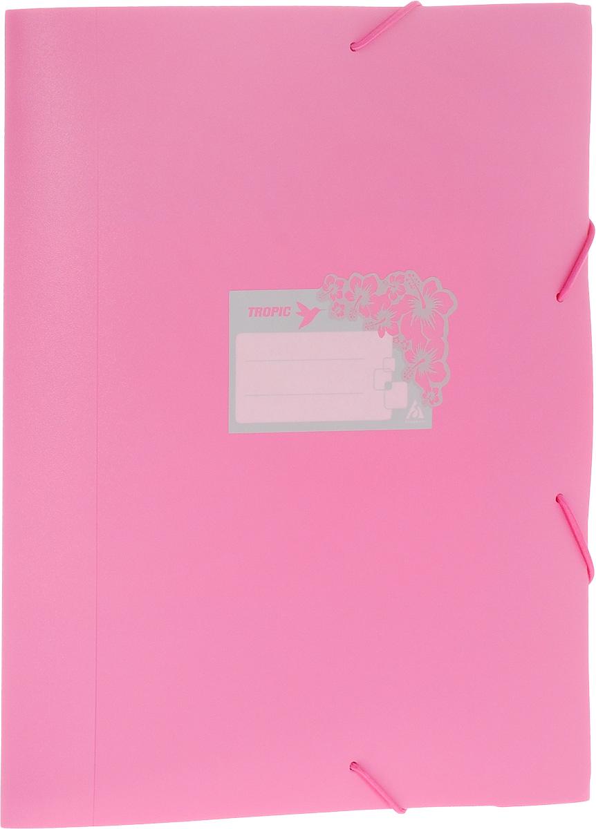 Бюрократ Папка-короб на резинке Tropic формат А4+ цвет розовый 816252__розовый