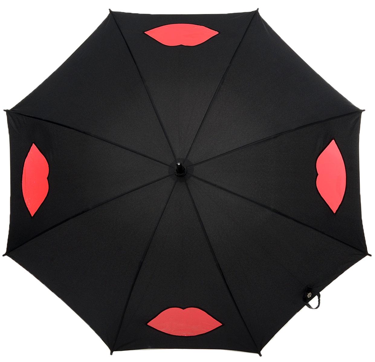 Зонт-трость женский Lulu Guinness Kensington, механический, цвет: черный, темно-красный. L777-2877L777-2877 CutOutLipsBlackМодный механический зонт-трость Fulton Lulu Guinness даже в ненастную погоду позволит вам оставаться стильной и элегантной. Каркас зонта состоит из 8 спиц и стержня из фибергласса. Купол зонта выполнен из прочного полиэстера и оформлен вставками в виде губ, которые выполнены из полупрозрачного материала. Изделие оснащено удобной рукояткой из дерева. Зонт механического сложения: купол открывается и закрывается вручную до характерного щелчка. Модель закрывается при помощи хлястика на кнопке. Такой зонт не только надежно защитит вас от дождя, но и станет стильным аксессуаром, который идеально подчеркнет ваш неповторимый образ.