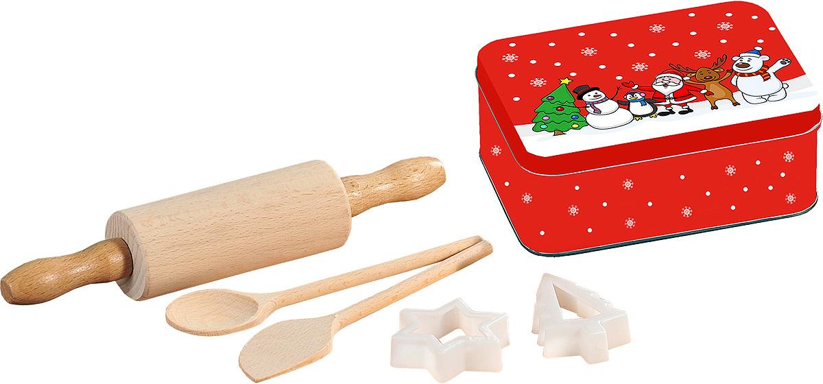 Набор кулинарный Kesper, 6 предметов. 6912-694672Кулинарный набор порадует ваших близких. В набор входит скалка, ложка, лопатка и две формочки для печеньев, выполнены из экологически чистого материала бук. Металлическая коробочка для хранения продуктов пригодится, чтобы сложить приготовленные изделия.