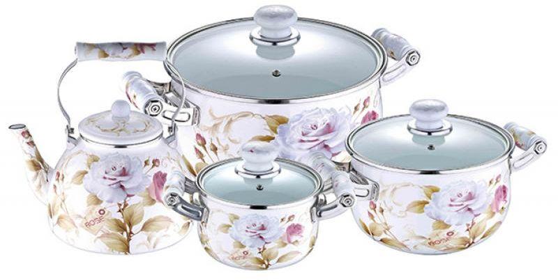Набор посуды Wellberg, 7 предметов. 3098 WBCM000001328Набор Wellberg состоит из трех кастрюль разного объема с крышками и чайника. Кастрюли и чайник выполнены из высококачественной эмалированной стали.Кастрюли оснащены эргономичными ручками, что сделает приготовление пищи более безопасным. Крышки, выполненные из термостойкого стекла, имеют пароотводы и удобные ручки. Крышки плотно прилегают к краям кастрюль, предотвращая проливание жидкости и сохраняя аромат блюд. Набор посуды Wellberg подходит для использования на всех типах плит, включая индукционные.Объем кастрюль: 2,1 л, 3,6 л, 6,4 л. Объем чайника: 4 л. Внутренний диаметр кастрюль: 16 см, 20 см, 24 см.