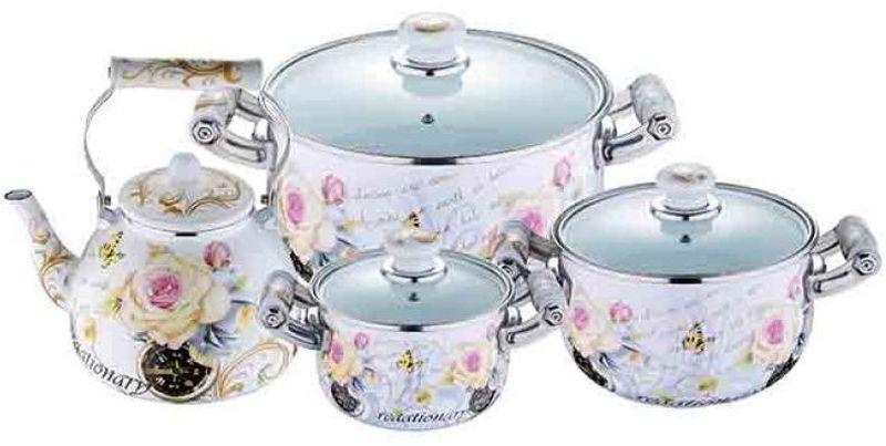 Набор посуды Wellberg, 7 предметов. 3096 WBCM000001328Набор Wellberg состоит из трех кастрюль разного объема с крышками и чайника. Кастрюли и чайник выполнены из высококачественной эмалированной стали.Кастрюли оснащены эргономичными ручками, что сделает приготовление пищи более безопасным. Крышки, выполненные из термостойкого стекла, имеют пароотводы и удобные ручки. Крышки плотно прилегают к краям кастрюль, предотвращая проливание жидкости и сохраняя аромат блюд. Набор посуды Wellberg подходит для использования на всех типах плит, включая индукционные.Объем кастрюль: 2,1 л, 3,6 л, 6,4 л. Объем чайника: 4 л. Внутренний диаметр кастрюль: 16 см, 20 см, 24 см.