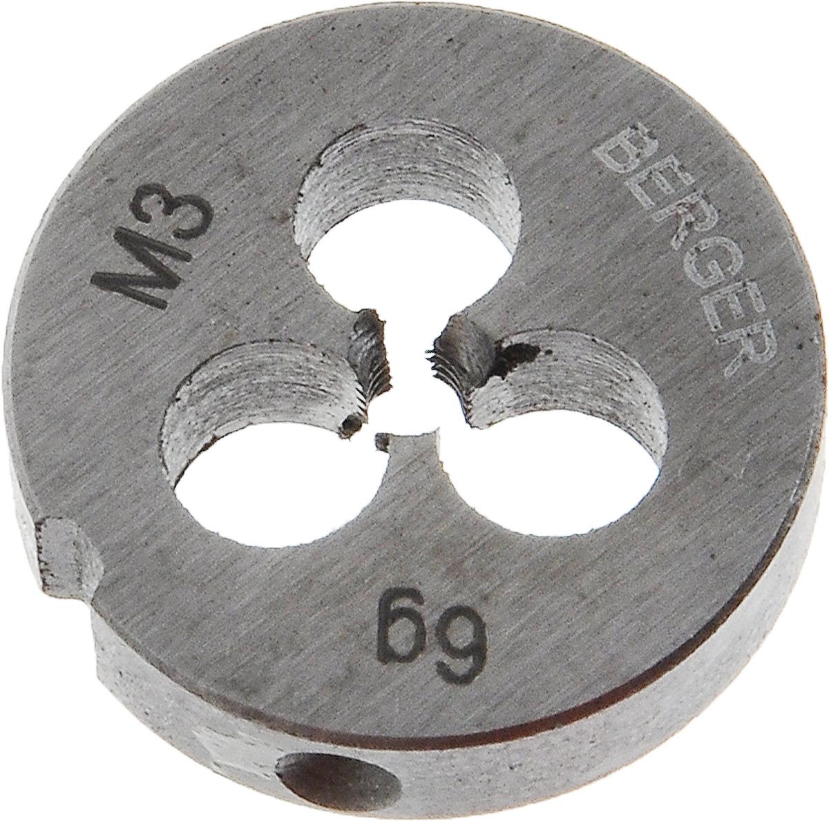 Плашка метрическая Berger, М3 х 0,5 ммCA-3505Плашка метрическая Berger изготовлена из инструментальной легированной стали 9ХС (средняя твердость 61 HRC), обладает повышенной износостойкостью, упругостью, сопротивлением к изгибу и кручению, стойкостью к контактным нагрузкам. Маркировка плашки облегчает идентификацию. Метрические плашки предназначены для создания желаемой спирали (метрической резьбы) с внешней стороны изделия.Шаг резьбы: 0,5 мм.