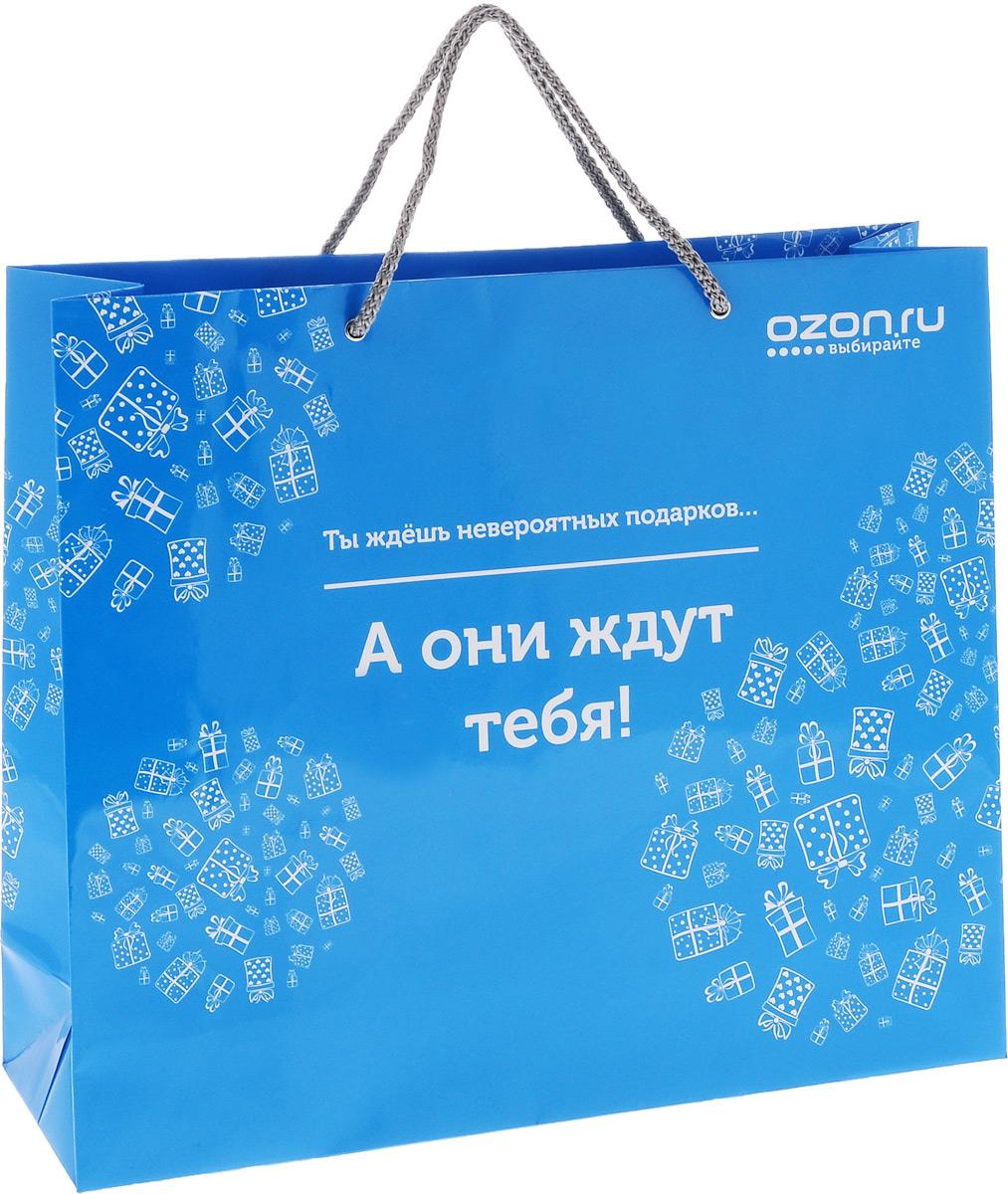 Пакет подарочный OZON.ru Ты ждешь невероятных подарков... А они ждут тебя!, 36 х 31 х 10 смУФ-00000929Пакет подарочный OZON.ru Ты ждешь невероятных подарков, а они ждут тебя, изготовленный из ламинированной бумаги, станет незаменимым дополнением к выбранному подарку. Дно изделия укреплено плотным картоном, который позволяет сохранить форму пакета и исключает возможность деформации дна под тяжестью подарка. Для удобной переноски предусмотрены два шнурка. Подарок, преподнесенный в оригинальной упаковке, всегда будет самым эффектным и запоминающимся. Окружите близких людей вниманием и заботой, вручив презент в нарядном, праздничном оформлении.