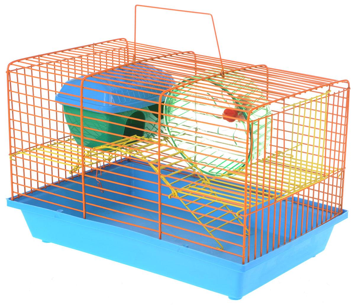 Клетка для грызунов Зоомарк Венеция, 2-этажная, цвет: голубой поддон, оранжевая решетка, 36 х 23 х 24 см0120710Клетка Зоомарк Венеция, выполненная из полипропилена и металла, подходит для мелких грызунов. Изделие двухэтажное, оборудовано колесом для подвижных игр и пластиковым домиком. Клетка имеет яркий поддон, удобна в использовании и легко чистится. Сверху имеется ручка для переноски. Такая клетка станет уединенным личным пространством и уютным домиком для маленького грызуна.