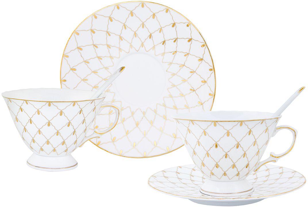 Чайная пара Elan Gallery Золотая сетка, с ложкой, 230 мл, 6 предметов115610Чайный набор на 2 персоны украсит Ваше чаепитие. В комплекте 2 чашки объемом 230 мл, 2 блюдца, 2 ложки. Изделие имеет подарочную упаковку, поэтому станет желанным подарком для Ваших близких!