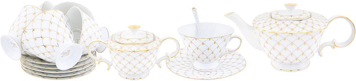 Чайный набор Elan Gallery Золотая сетка, 14 предметов801136Чайный сервиз на 6 персон из серии Маки в красивой подарочной упаковке. Легкие изящные чашки объемом 250 мл, большие блюдца. В комплекте: чашка на ножке - 12х10,5х7,5 см 230 мл - 6 шт, блюдце - 15,5х15,5х1,5 см - 6 шт, сахарница - 16,5х9,5х9 см 300 мл, чайник - 24х13,5х11,5 см 750 мл с ложками. Этот чайный сервиз подходит для праздничного стола и является великолепным подарком!
