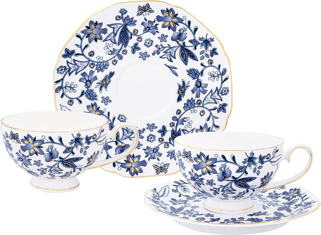 Чайная пара Elan Gallery Изысканность, 4 предмета801140Чайный набор с цветочным узором и золотистой каймой на 2 персоны украсит Ваше чаепитие. В комплекте 2 чашки, 2 блюдца. Изделие имеет подарочную упаковку, поэтому станет желанным подарком для Ваших близких!