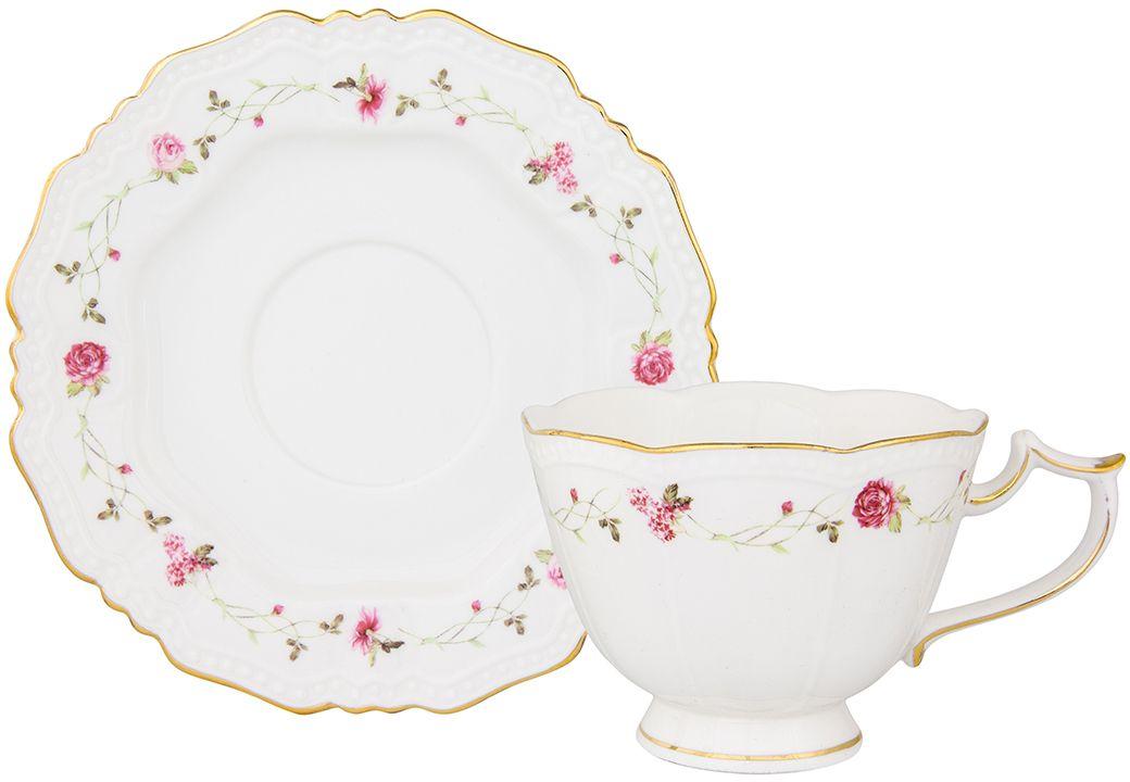 Чайная пара Elan Gallery Нежные розы, 275 мл801141Чайный набор на 1 персону украсит Ваше чаепитие. В комплекте чашка - 275 мл 12,5х9,5х7,5 см, блюдце - 15,2х15,2х1,5 см Изделие имеет подарочную упаковку, поэтому станет желанным подарком для Ваших близких!
