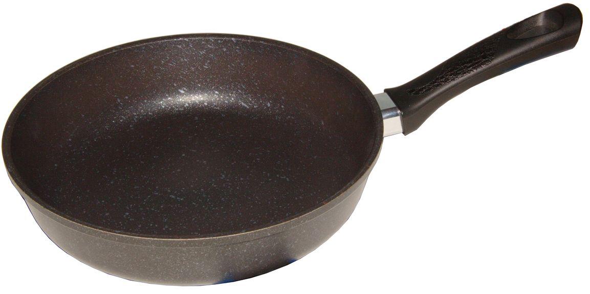 Сковорода Helper Marble, с антипригарным покрытием, цвет: черный с мраморной крошкой. Диаметр 22 смMR4522Сковорода HELPER MARBLE выполнена из литого толстостенного алюминия, что позволяет равномерно распределять и прекрасно удерживать тепло, экономить электроэнергию и готовить пищу быстрее. Значительная толщина стенок и дна исключает деформацию корпуса изделий, гарантирует долговечность посуды. Снабжена антипригарным покрытием GREBLON C2+ с усиленным грунтовым слоем, дополнительно усиленное мраморной крошкой. Изделие не содержит кадмия и свинца, а также вредной примеси PFOA, оно абсолютно экологично и безопасно для здоровья. Антипригарное покрытие обладает высокой прочностью, пища не пригорает и сохраняет полезные свойства.Ручка выполнена из бакелита. Подходит для газовых, электрических и стеклокерамических плит. Можно мыть в посудомоечной машине.