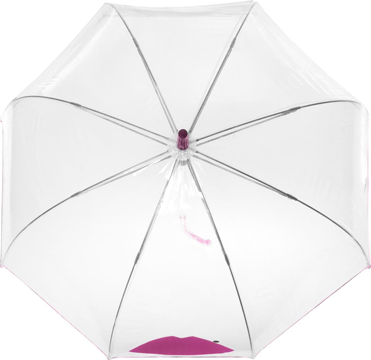 Зонт-трость женский Lulu Guinness Birdcage, механический, цвет: прозрачный, сливовый. L719-3180L719-3180 AbstractLipMagentaНеобычный механический зонт-трость Lulu Guinness Birdcage даже в ненастную погоду позволит вам оставаться модной и элегантной. Каркас зонта включает 8 спиц из фибергласса с пластиковыми наконечниками. Стержень изготовлен из стали. Купол зонта выполнен из высококачественного прозрачного ПВХ и оформлен принтом в виде губок с кокетливой родинкой и кантом того же цвета. Изделие дополнено удобной пластиковой рукояткой с металлическим элементом. Зонт механического сложения: купол открывается и закрывается вручную до характерного щелчка. Модель дополнительно застегивается с помощью хлястика на кнопку. Такой зонт не только надежно защитит вас от дождя, но и станет стильным аксессуаром, который идеально подчеркнет ваш неповторимый образ.