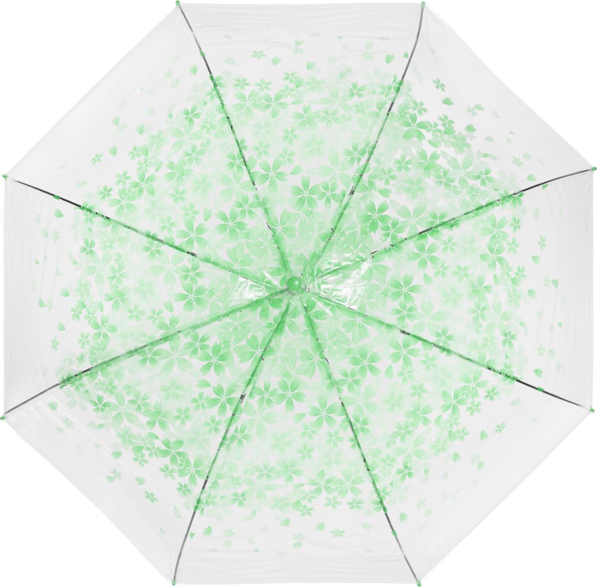 Зонт женский Эврика, цвет: прозрачный, зеленый. 9750597505Зонт-трость Эврика выполнен из прозрачного полиэтилена и оформлен цветочным принтом. Благодаря своему изяществу и утонченности орнамента он способен украсить даже самый пасмурный день. Лёгкий, практичный зонт-полуавтомат послужит верным спутником дамы, желающей выглядеть стильно в любую погоду.