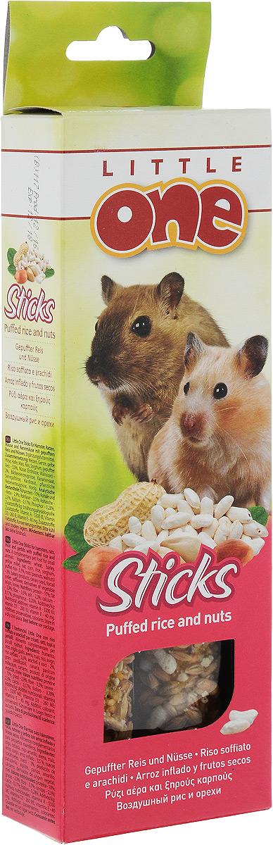 """Лакомство для хомяков, крыс, мышей и песчанок Little One """"Sticks"""", с воздушным рисом и орехами, 2 х 55 г 56830"""