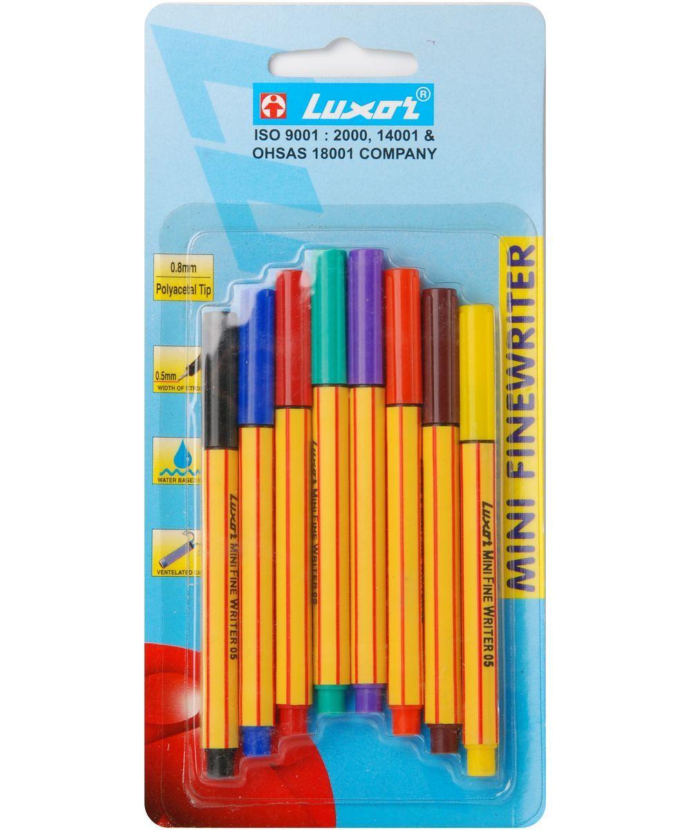 Luxor Набор ручек Finliner Mini 8 шт7150/8BCРучки Finliner mini, 0.5мм, 8шт, 8цветов, блистер