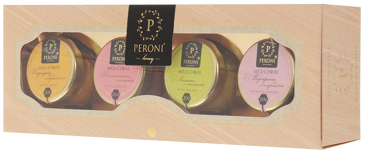 Peroni Коктейли мед-суфле подарочный набор, 4 шт по 30 г304Медовые коктейли - это новинка в мире меда. Взрывная клюква, солнечный абрикос, ароматная клубника и освежающая мелисса поражают своими вкусами. В их составе только натуральные и полезные ингредиенты, которые превращают мед в изысканное лакомство. Для получения меда-суфле используются специальные технологии. Мед долго вымешивается при определенной скорости, после чего его выдерживают при температуре 12-14°C, тем самым закрепляя его нужную консистенцию. Все полезные свойства меда при этом сохраняются. Уважаемые клиенты! Обращаем ваше внимание, что полный перечень состава продукта представлен на дополнительном изображении.