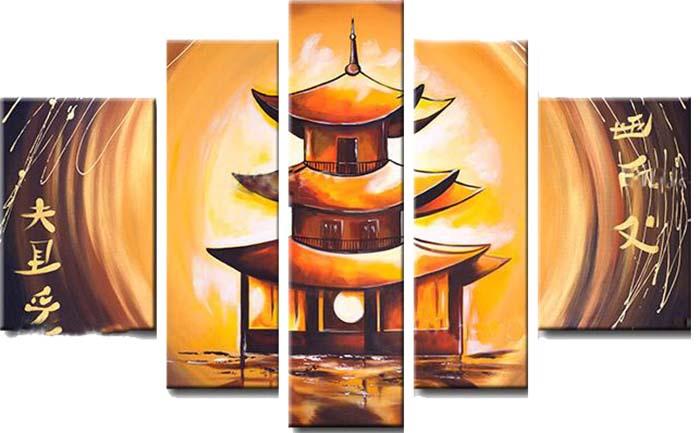 Картина Арт78 Пагода, модульная, 200 х 120 см. арт780055арт780055Ничто так не облагораживает интерьер, как хорошая картина. Особенную атмосферу создаст крупное художественное полотно, размеры которого более метра. Подобные произведения искусства, выполненные в традиционной технике (холст, масляные краски), чрезвычайно капризны: требуют сложного ухода, регулярной реставрации, особого микроклимата – поэтому они просто не могут существовать в условиях обычной городской квартиры или загородного коттеджа, и требуют больших затрат. Данное полотно идеально приспособлено для создания изысканной обстановки именно у Вас. Это полотно создано с использованием как традиционных натуральных материалов (холст, подрамник - сосна), так и материалов нового поколения – краски, фактурный гель (придающий картине внешний вид масляной живописи, и защищающий ее от внешнего воздействия). Благодаря такой композиции, картина выглядит абсолютно естественно, и отличить ее от традиционной техники может только специалист. Но при этом изображение отлично...